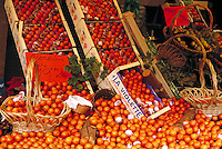 Fruit stand. Paris, France. Clementines in and out of crates. Paris, France.