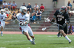 Torrance, CA 05/11/13 - Oscar Gomez (St Margarets #21) and Hunter Stanley (Harvard Westlake #12) in action during the Harvard Westlake vs St Margarets 2013 Los Angeles / Orange County Championship game.  St Margaret defeated Harvard Westlake 15-8.