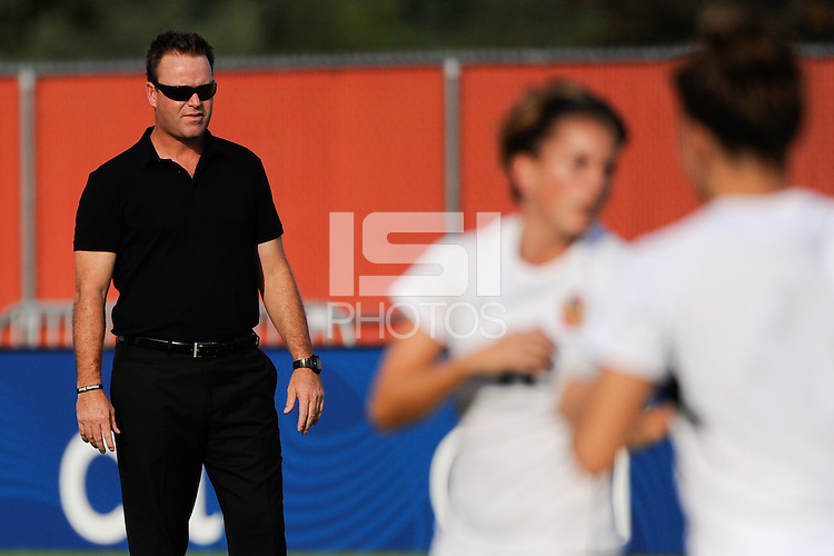 Atlanta Beat head coach Gareth O'Sullivan watches pre-game warm ups. The Atlanta Beat defeated Sky Blue FC 1-0 during a Women's Professional Soccer (WPS) match at Yurcak Field in Piscataway, NJ, on July 18, 2010.