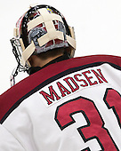 Merrick Madsen (Harvard - 31) - The Harvard University Crimson defeated the Brown University Bears 4-3 to sweep their first round match up in the ECAC playoffs on Saturday, March 7, 2015, at Bright-Landry Hockey Center in Cambridge, Massachusetts.