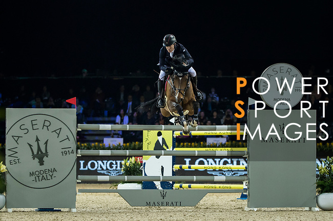 Michael Whitaker of Great Britain riding Calisto Blue competes in the Longines Grand Prix during the Longines Masters of Hong Kong at AsiaWorld-Expo on 11 February 2018, in Hong Kong, Hong Kong. Photo by Ian Walton / Power Sport Images