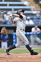 Charleston RiverDogs second baseman John Murphy #3 swings at a pitch during a game against the Asheville Tourists at McCormick Field July 26, 2014 in Asheville, North Carolina. The Tourists defeated the RiverDogs 9-6. (Tony Farlow/Four Seam Images)