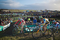 top trio in lap 2: Kevin Pauwels (BEL), Tom Meeusen (BEL) &amp; Lars van der Haar (NLD)<br /> <br /> 2014 Noordzeecross<br /> Elite Men