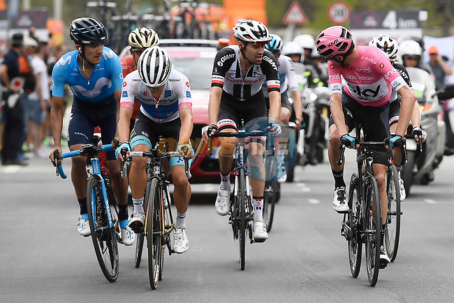 Race leader Chris Froome (GBR) Team Sky Maglia Rosa, Miguel Angel Lopez (Col) Astana Pro Team Maglia Bianca,   Richard Carapaz (ECU) Movistar Team, Domenico Pozzovivo (ITA) Bahrain-Merida, Tom Dumoulin and Sam Oomen (NED) Team Sunweb climbing during Stage 20 of the 2018 Giro d'Italia, running 214km from Susa to Cervinia is the final mountain stage, with the last three climbs of Giro 101 deciding the GC of the Corsa Rosa, Italy. 26th May 2018.<br /> Picture: LaPresse/Fabio Ferrari | Cyclefile<br /> <br /> <br /> All photos usage must carry mandatory copyright credit (© Cyclefile | LaPresse/Fabio Ferrari)