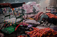OLD DELHI, INDIA, JANUARY 11, 2016: Men wake-up on the street at a sleep market where they rented a blanket on January 11, 2016 in Old Delhi, India. <br /> Daniel Berehulak for The New York Times