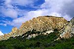 Eroded fault scarp slope Paritea clay cliffs near Omarama, Waitaki valley, north Otago, south island, New Zealand