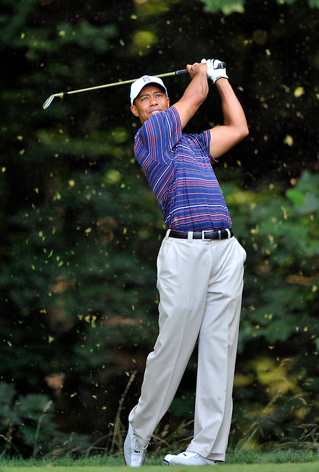 Tiger Woods tees off on the 14th hole during the second round of the AT&T National at the Congressional Country Club in Bethesda, MD on Friday, July 3, 2009.  Alan P. Santos/DC Sports Box.Tiger Woods