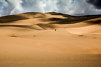 """A lone hiker in Great Sand Dunes National Park , Colorado, exemplifies the meaning of """"small"""" when compared with  the size of the dunes, some measuring over 700 feet high."""