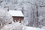 Snowbound barn in Harvard, MA, USA