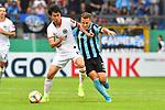 11.08.2019, Carl-Benz-Stadion, Mannheim, GER, DFB Pokal, 1. Runde, SV Waldhof Mannheim vs. Eintracht Frankfurt, <br /> <br /> DFL REGULATIONS PROHIBIT ANY USE OF PHOTOGRAPHS AS IMAGE SEQUENCES AND/OR QUASI-VIDEO.<br /> <br /> im Bild: Daichi Kamada (Eintracht Frankfurt #15), Mete Celik (SV Waldhof Mannheim #3)<br /> <br /> Foto © nordphoto / Fabisch