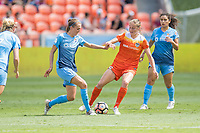 Houston, TX - Saturday May 13, Sky Blue FC midfielder Sarah Killion (16), Houston Dash forward Janine Beckie (16) during a regular season National Women's Soccer League (NWSL) match between the Houston Dash and Sky Blue FC at BBVA Compass Stadium. Sky Blue won the game 3-1.