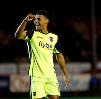 Exeter City's Ollie Watkins opens the scoring during the Sky Bet League 2 match between Crawley Town and Exeter City at Broadfield Stadium, Crawley, England on 28 February 2017. Photo by Carlton Myrie / PRiME Media Images.