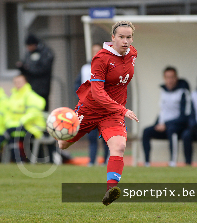 20160319 - FLERS , FRANCE : Czech Michaela Khyrova pictured during the soccer match between the women under 17 teams of  France and the Czech Republic , on the first matchday in group 3 of the UEFA Women Under17 Elite rounds at Stade du Haze in Flers , France . Saturday 19th March 2016 . PHOTO DAVID CATRY