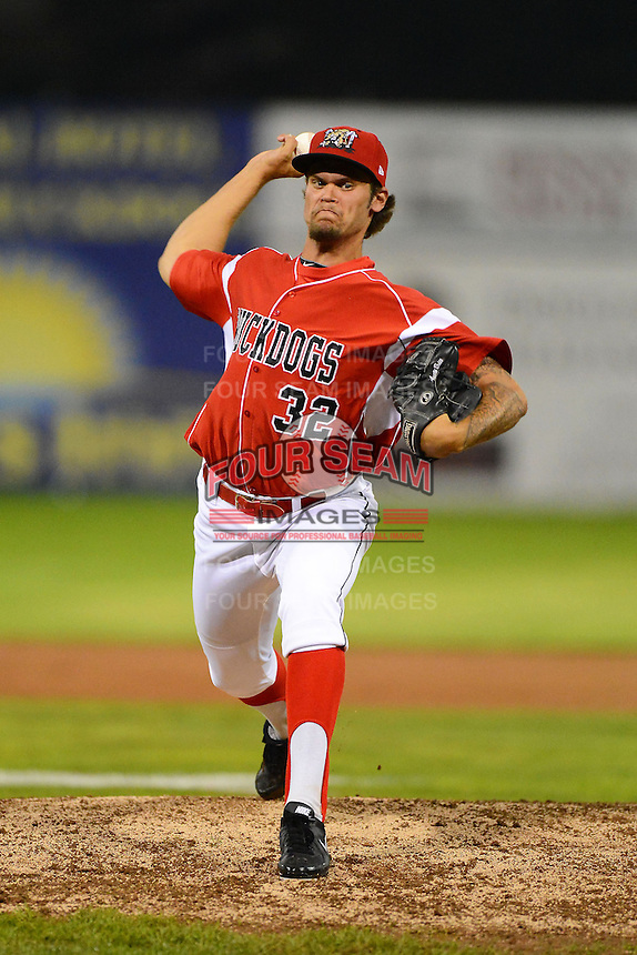 Batavia Muckdogs pitcher Dane Stone (32) during a game against the Auburn Doubledays on July 3, 2013 at Dwyer Stadium in Batavia, New York.  Batavia defeated Auburn 12-2.  (Mike Janes/Four Seam Images)