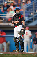 Batavia Muckdogs catcher Jared Barnes (26) looks to the dugout during a game against the Auburn Doubledays on August 26, 2017 at Dwyer Stadium in Batavia, New York.  Batavia defeated Auburn 5-4.  (Mike Janes/Four Seam Images)