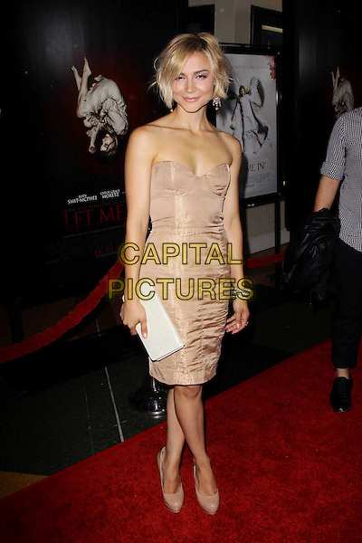 "SAMAIRE ARMSTRONG .Los Angeles Premiere of ""Let Me In"" held at The Bruin Theatre, Los Angeles, California, USA, .27th September 2010..full length strapless nude biege dress platform patent shoes bustier .CAP/ADM/TC.©T. Conrad/AdMedia/Capital Pictures."