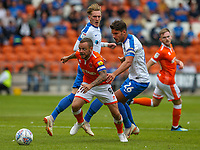 Blackpool's Jay Spearing gets away from Portsmouth's Gareth Evans<br /> <br /> Photographer Alex Dodd/CameraSport<br /> <br /> The EFL Sky Bet League One - Blackpool v Portsmouth - Saturday August 11th 2018 - Bloomfield Road - Blackpool<br /> <br /> World Copyright &copy; 2018 CameraSport. All rights reserved. 43 Linden Ave. Countesthorpe. Leicester. England. LE8 5PG - Tel: +44 (0) 116 277 4147 - admin@camerasport.com - www.camerasport.com