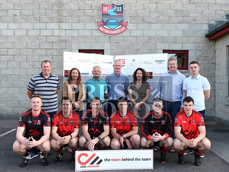 At the launch of the Club Mattock Idea, Richella Matthews Matthews Bar & Lounge, John Reid Cookstown Dairy Services, Martin Wasylocha Expert Air, Jim McBride JMB Sportsfield Services, Pat Dunne Dunnes Drilling Services, Edel Fox North East ATVs, Seamus Maguire North East Space. Players Mike Englishby, Daire Englishby, Terry Donegan, Ryan Leneghan, Sean Gilsenan and David Reid. Photo:Colin Bell/pressphotos.ie