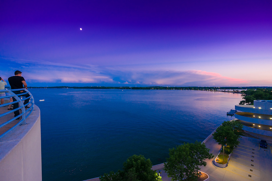 Moonrise at sunset over Lake Mendota as seen from the Monona Terrace Convention Center in Madison, Wisconsin.