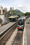 Steam railway Corfe Castle to Swanage Dorset England. The Swanage Railway is situated on the Isle of Purbeck in the south east corner of the picturesque county of Dorset.