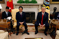 United States President Donald J. Trump meets with Prime Minister of Japan Shinzo Abe in the Oval Office of the White House on June 7, 2018 in Washington, DC.<br /> <br /> CAP/MPI/RS<br /> &copy;RS/MPI/Capital Pictures