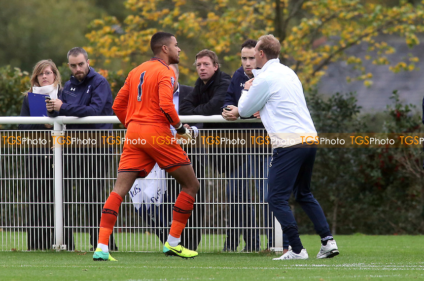 Tottenham goalkeeper, Jordan Archer, was not too happy with the coaching staff after being substituted during the 1st half - Tottenham Hotspur Under-21 vs Leicester City Under-21 - Barclays Under-21 Premier League Football - 21/10/13 - MANDATORY CREDIT: Paul Dennis/TGSPHOTO - Self billing applies where appropriate - 0845 094 6026 - contact@tgsphoto.co.uk - NO UNPAID USE