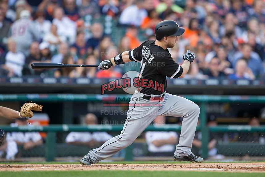 Todd Frazier (21) of the Chicago White Sox follows through on his swing against the Detroit Tigers at Comerica Park on June 2, 2017 in Detroit, Michigan.  The Tigers defeated the White Sox 15-5.  (Brian Westerholt/Four Seam Images)