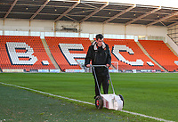 A groundsman paints the lines inside Bloomfield Road, home of Blackpool FC<br /> <br /> Photographer Alex Dodd/CameraSport<br /> <br /> The EFL Checkatrade Trophy Northern Group C - Blackpool v West Bromwich Albion U21 - Tuesday 9th October 2018 - Bloomfield Road - Blackpool<br />  <br /> World Copyright &copy; 2018 CameraSport. All rights reserved. 43 Linden Ave. Countesthorpe. Leicester. England. LE8 5PG - Tel: +44 (0) 116 277 4147 - admin@camerasport.com - www.camerasport.com