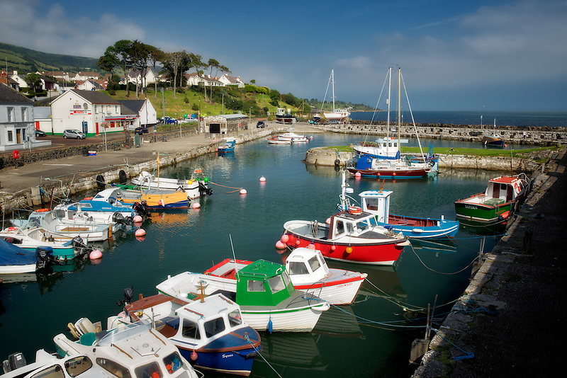 Boats in Carnlough Harbor. Carnlough, Northern Ireland