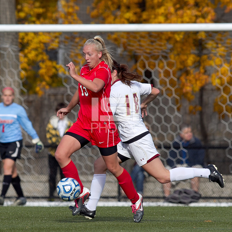 Marist College defender Marissa Mertens (13) brings the ball forward. Boston College defeated Marist College, 6-1, in NCAA tournament play at Newton Campus Field, November 13, 2011.
