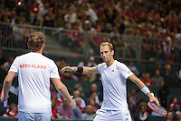 Switserland, Genève, September 19, 2015, Tennis,   Davis Cup, Switserland-Netherlands, Doubles: Dutch team Matwe Middelkoop/Thiemo de Bakker (R)  photo 5<br /> Photo: Tennisimages/Henk Koster