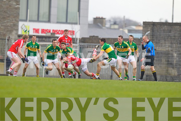 Killian Young Kerry in action against Aidan Walsh Cork in the National Football League at Austin Stack park, Tralee on Sunday.