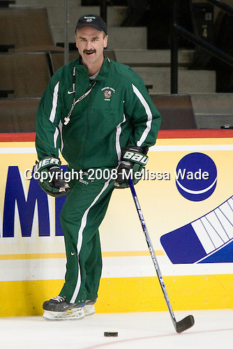 Cary Eades (North Dakota Associate Head Coach) - The 2008 Frozen Four participants practiced on Wednesday, April 9, 2008, at the Pepsi Center in Denver, Colorado.