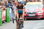 Oliver Naesen (BEL) AG2R La Mondiale from the breakaway crosses the finish line of Stage 1 of the Criterium du Dauphine 2019, running 142km from Aurillac to Jussac, France. 9th June 2019<br /> Picture: Colin Flockton | Cyclefile<br /> All photos usage must carry mandatory copyright credit (© Cyclefile | Colin Flockton)