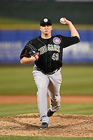 Kane County Cougars pitcher Michael Heesch (43) delivers a pitch during a game against the Peoria Chiefs on June 2, 2014 at Dozer Park in Peoria, Illinois.  Peoria defeated Kane County 5-3.  (Mike Janes/Four Seam Images)