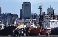 View of fishing harbour of Montevideo