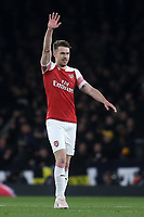 Aaron Ramsey celebrates scoring Arsenal's opening goal during Arsenal vs Napoli, UEFA Europa League Football at the Emirates Stadium on 11th April 2019