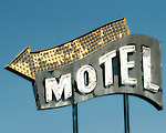 Motel sign in Butte, MT on December 28, 2004.