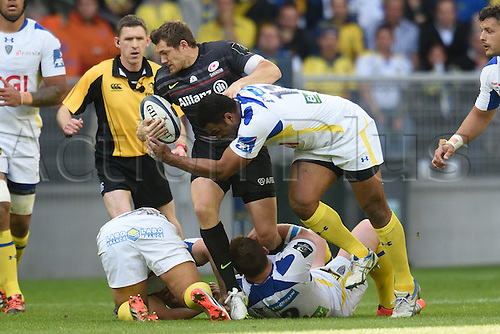 18.04.2015. Clermont-Ferrand, Auvergne, France. Champions Cup rugby semi-final between ASM Clermont and Saracens.   Wesley Fofana (asm) wraps up Alex Goode (saracens)