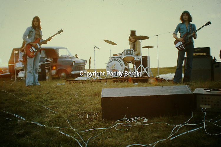 Madhatter Rock Band performing at the Cissbury Ring Festival on the South Downs in the early 1970s.<br />