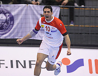 15.01.2013 Granollers, Spain. IHF men's world championship, prelimanary round. Picture show  Kamel Alouini    in action during game between Tunisia vs Montenegro at Palau d'esports de Granollers