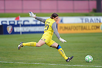 of Sky Blue FC goalkeeper Jenni Branam (23). Sky Blue FC defeated the Chicago Red Stars 1-0 during a Women's Professional Soccer match at Yurcak Field in Piscataway, NJ, on June 17, 2009.