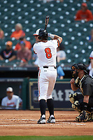 Hunter Hearn (8) of the Sam Houston State Bearkats at bat against the Vanderbilt Commodores in game one of the 2018 Shriners Hospitals for Children College Classic at Minute Maid Park on March 2, 2018 in Houston, Texas. The Bearkats walked-off the Commodores 7-6 in 10 innings.   (Brian Westerholt/Four Seam Images)