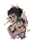 Illustrative image of mother carrying baby representing love and care