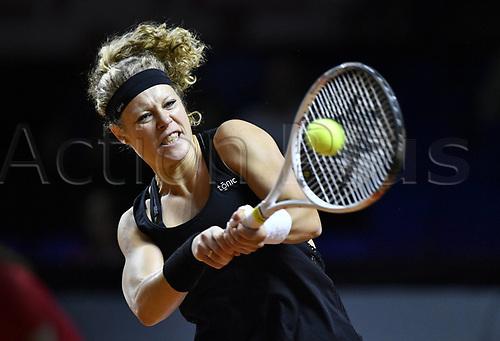 April 25th 2017. Stuttgart, Germany; Porsche Grand Prix womens tennis tournament;  Laura SIEGEMUND (GER) returns to Shua Zhang (CHN)