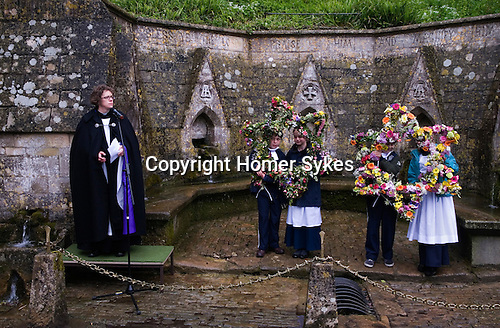 Well Dressing Bisley Gloucestershire UK 2015 The Rev Rosie Woodall vicar of All Saints Church