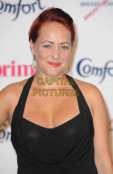 Sarah Cawood.Prima High Street Fashion Awards, Battersea Evolutions, Battersea Park, London, England..September 8th, 2011.headshot portrait black halterneck pink lipstick .CAP/WIZ.© Wizard/Capital Pictures.