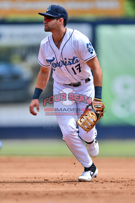 Asheville Tourists first baseman Johnny Cresto (17) reacts to the ball during a game against the Delmarva Shorebirds at McCormick Field on May 5, 2019 in Asheville, North Carolina. The Shorebirds defeated the Tourists 10-9. (Tony Farlow/Four Seam Images)