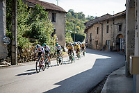 peloton rolling through town<br /> <br /> Stage 19 from Bourg-en-Bresse to Champagnole (167km)<br /> <br /> 107th Tour de France 2020 (2.UWT)<br /> (the 'postponed edition' held in september)<br /> <br /> ©kramon