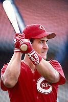 Brett Boone of the Cincinnati Reds participates in a Major League Baseball game at Dodger Stadium during the 1998 season in Los Angeles, California. (Larry Goren/Four Seam Images)